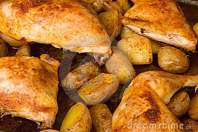 Chicken with potato wedges