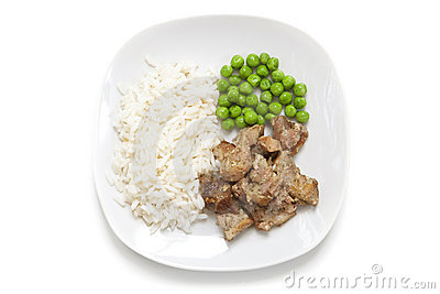 Chicken with rice and green peas
