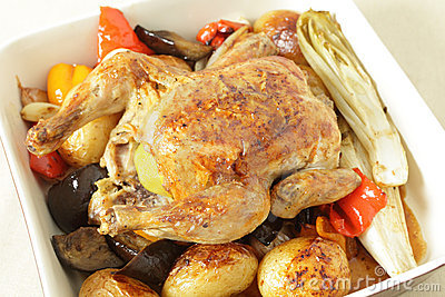 Chicken and roast vegetables high angle