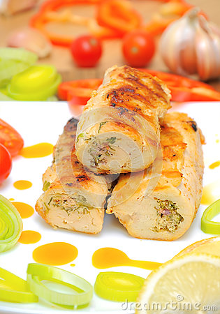Chicken rolls with vegetables closeup