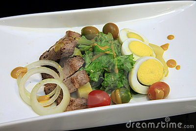 Chicken salad with olive and egg