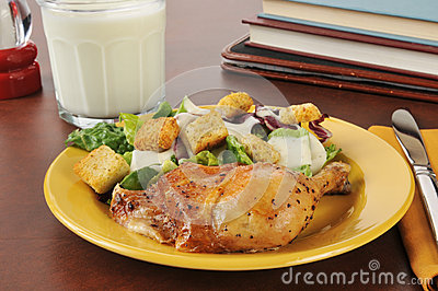 Chicken and salad after shool