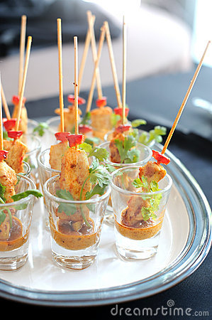 Free Chicken Satay Skewers Served In A Glass Royalty Free Stock Photo - 16165395
