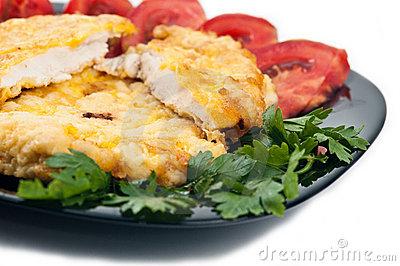 Chicken schnitzel closeup