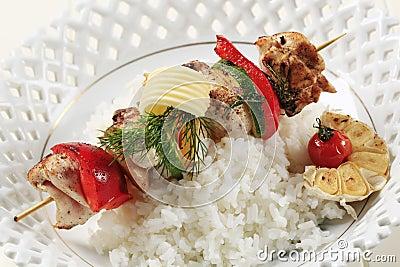 Chicken shish kebab and rice