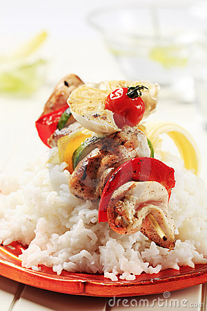 Chicken shish kebab and rice