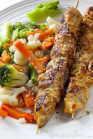 Chicken Skewers and Vegetables