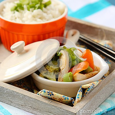 Chicken Stir Fry With Vegetables And Rice Royalty Free Stock Image ...