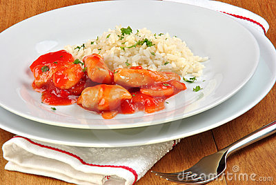 Chicken sweet sour with rice