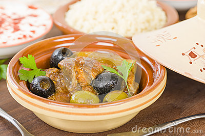 ... tagine with olives, preserved lemon and fennel, served with couscous