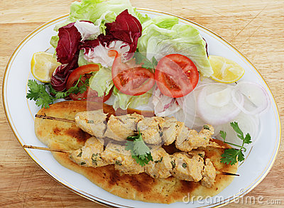 Chicken tikka kebab meal
