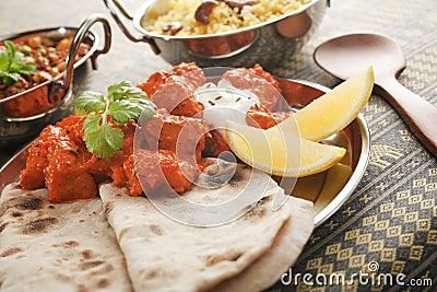 Chicken Tikka Masala with Chapati and Rice Pilau