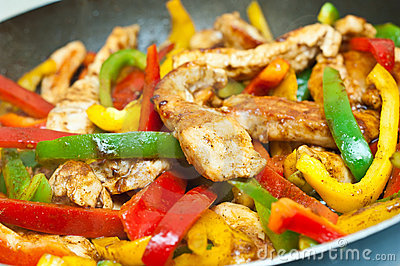 Chicken and vegetables stir fried