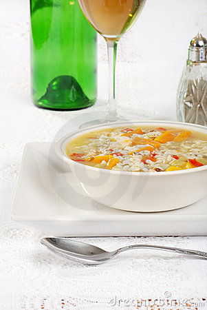 Chicken and wild rice soup with wine