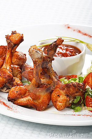 Chicken wings with hot spicy  sauce