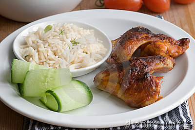 Chicken wings with rice