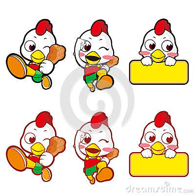 Chickens running shop to promote. Character
