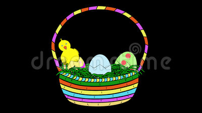 Chicks In Easter Basket-Animated-Transparent Stock Photo