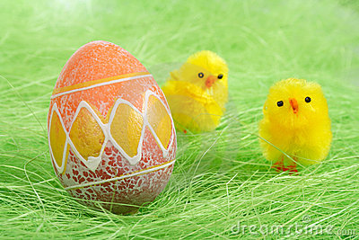 Chicks And Painted Colorful Easter Egg