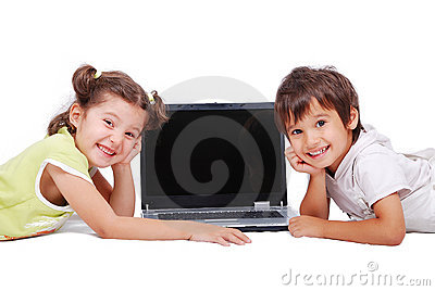 Chidren activities on laptop