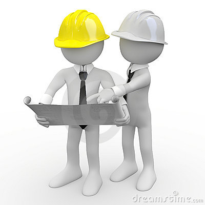 Free Chief Architect Looking At Plans While Another Arc Royalty Free Stock Image - 17888856