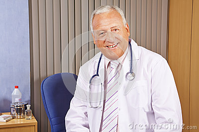 Chief physician in his hospital office
