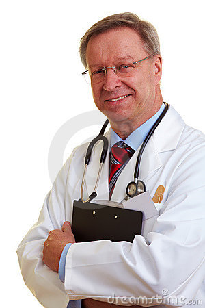 Chief physician holding clipboard