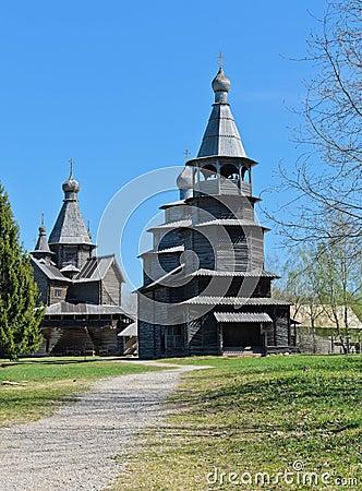 Di vitoslavlitsy di architettura di legno in veliky novgorod, russia