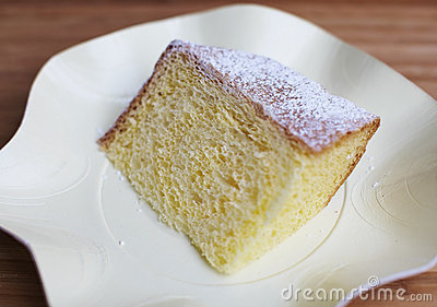 Chiffon cake piece dusted with sugar