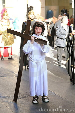 Child acting as Jesus in Palermo Easter Parade Editorial Photo