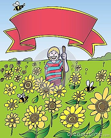 Child Adventure: Sunflower Field with Banner