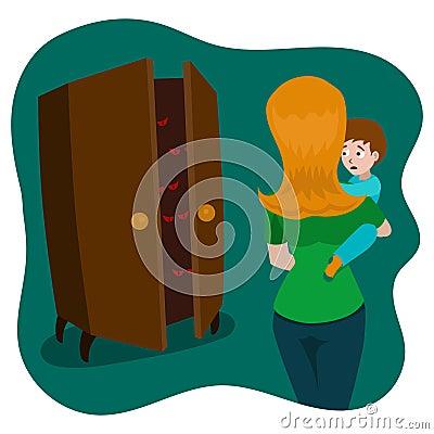 Child afraid of monsters in room cartoon vector Vector Illustration
