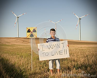 Child against nuclear energy.