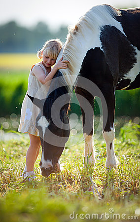 Free Child And Horse In Filed Royalty Free Stock Photography - 35042407