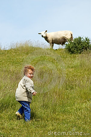 Free Child And Sheep Stock Images - 9483084