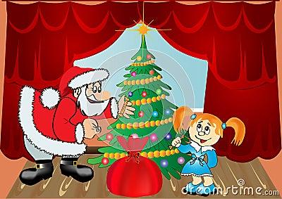 Child around fir tree