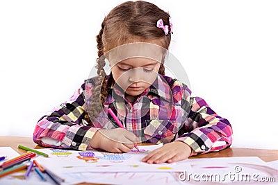 Child - artist paints picture