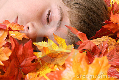 Child asleep in autumn leaves