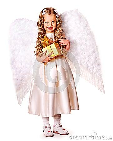 Free Child At Angel Costume Holding Gift Box. Stock Image - 35353581