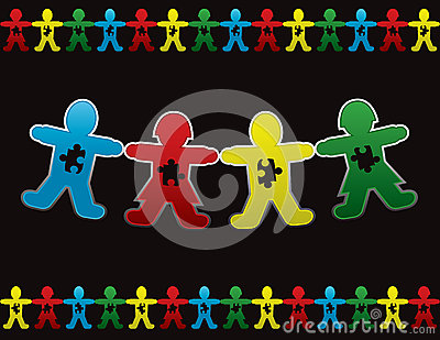 Child Autism Paper Doll Background Royalty Free Stock