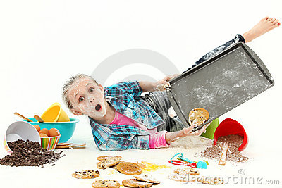 Child Baking Cookies Mess