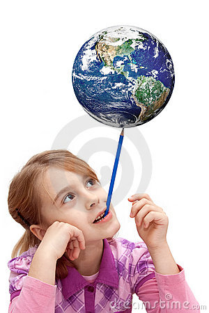 Child balance the earth