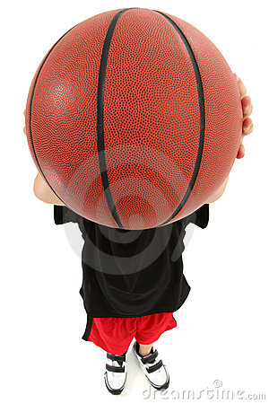 Child Basketball Player with Ball Over Face