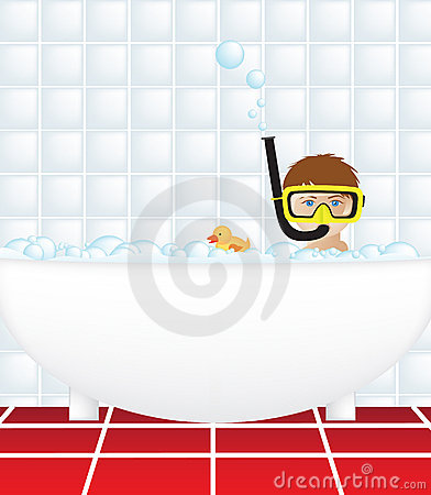 Child in bath with snorkel