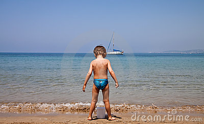 A child on the beach