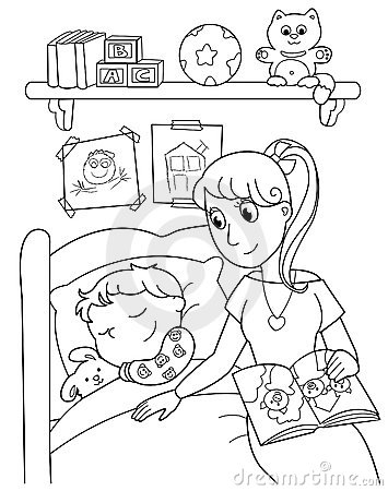 Child at bed with mom