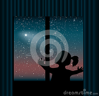 Child behind the window is watching the comet