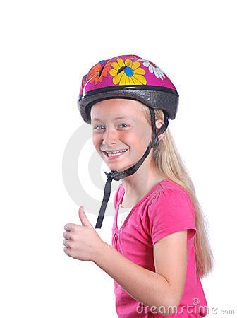 Child with bicycle helmet on white