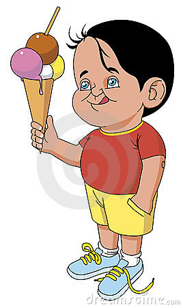 Child with big cornet ice cream