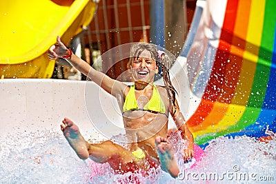 Child In Bikini Sliding Water Park. Stock Photo - Image ...
